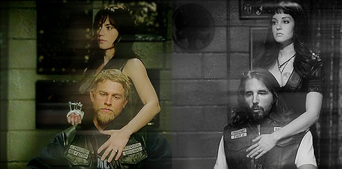 Sons Of Anarchy wallpaper possibly containing a sign called Tara/Jax & Gemma/John