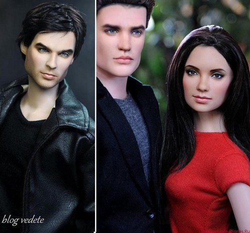 Vampire Diaries karatasi la kupamba ukuta probably with a portrait called damon, stefan and elena dolls