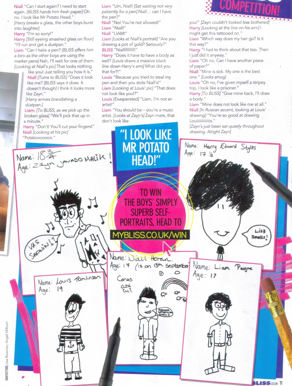 1D self portraits in Bliss magazine!