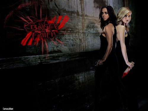 Buffy vs Faith wallpaper probably with a coquetel dress and a jantar dress entitled Buffy vs Faith