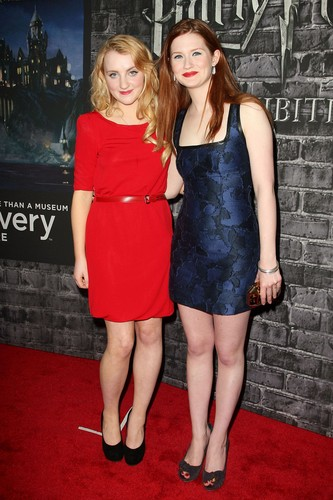 Evanna Lynch and Bonnie Wright