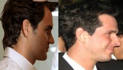 Federer and Mateasko from profile..best similarity !