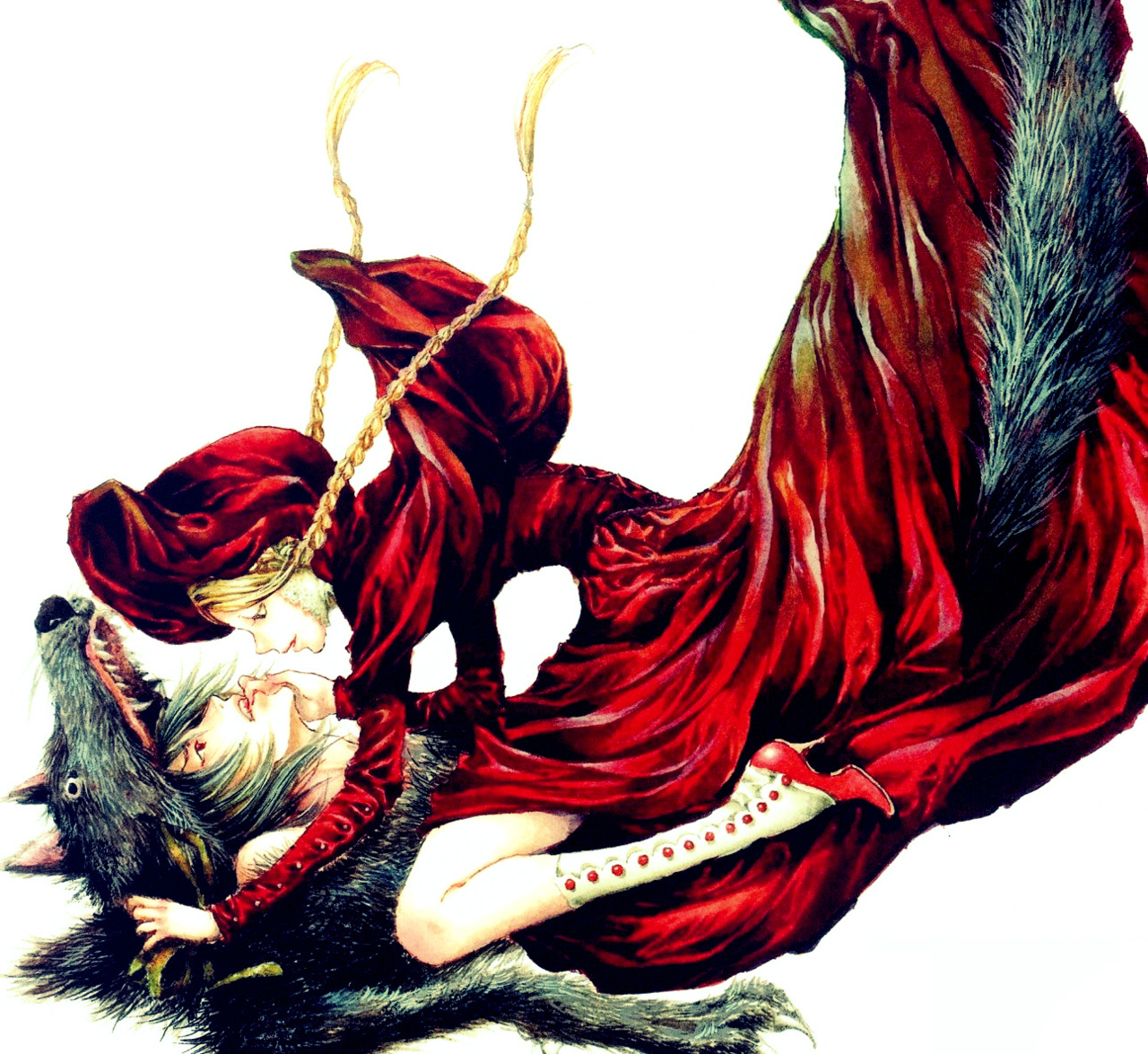 Anime red riding hood and wolf