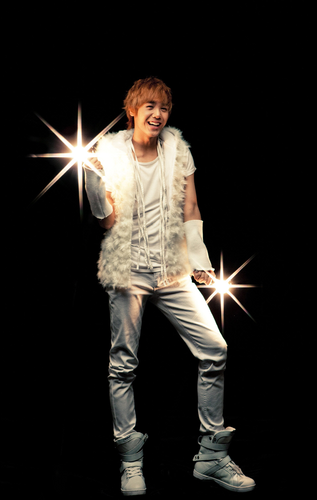 "Kpop karatasi la kupamba ukuta probably with long trousers and a hip boot titled MBLAQ ""White Forever"" promotional pics"