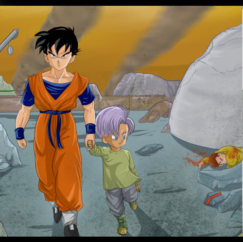 ドラゴンボールZ 壁紙 possibly with アニメ entitled Mirai Gohan and trunks