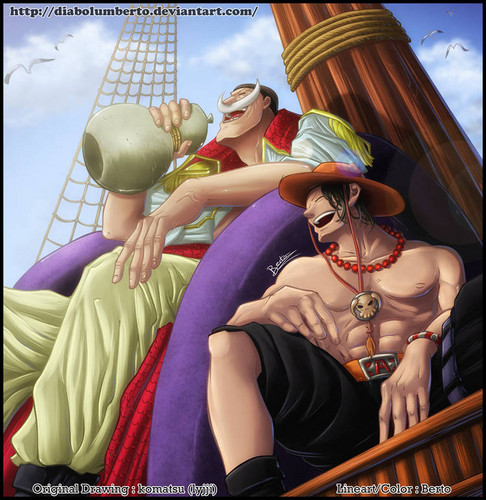 One Piece kertas dinding titled Ace & Whitebeard