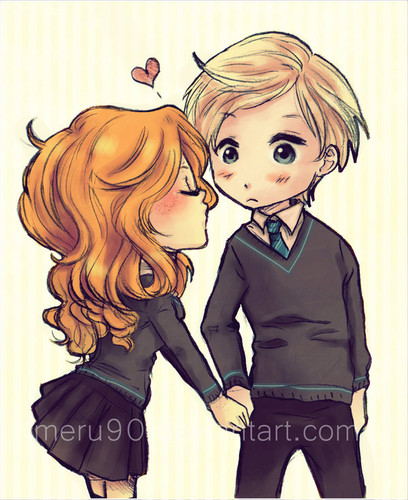 Rose and Scorpius fond d'écran with animé entitled Scorpius and Rose fan Art