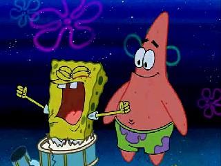 Spongebob getting ready to sing C-A-M-P-F-I-R-E song