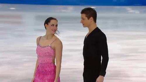 Tessa Virtue & Scott Moir wallpaper probably containing a dinner dress, a gown, and a strapless called tessa virtue & scott moirGPF practice — december 9, 2011
