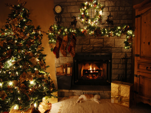 Christmas wallpaper containing a fireplace, a family room, and a fire screen called Christmas Wallpaper