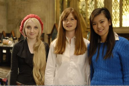 Evanna Lynch, Katie Leung, and Bonnie Wright
