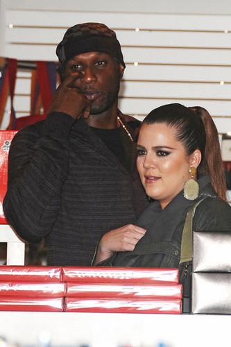 Khloe Kardashian and Lamar Odom at Kitson with Rob Kardashian