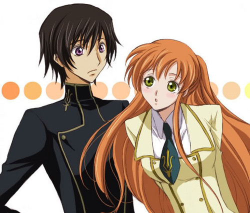 Code Geass karatasi la kupamba ukuta with anime titled Lelouch and Shirley