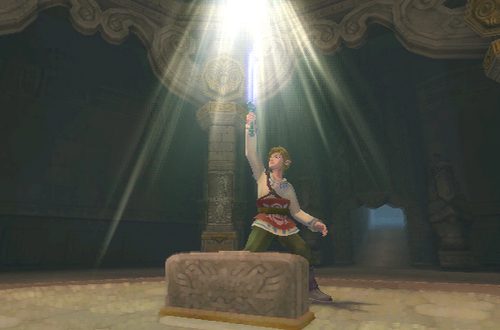 Link obtaining the Goddess Sword