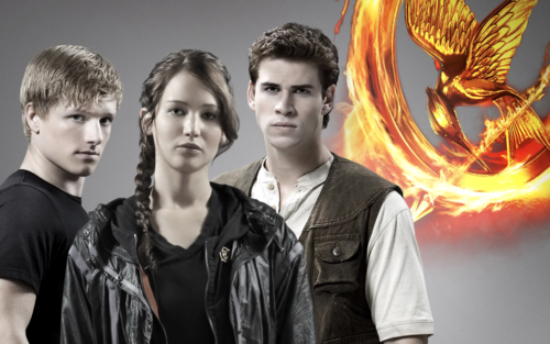 The Hunger Games پیپر وال probably containing a آگ کے, آگ called new HQ poster of Katniss, Peeta and Gale