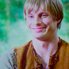 Merlin on BBC photo probably with a portrait entitled Arthur