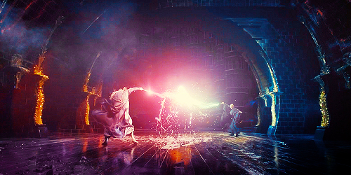 Harry Potter fond d'écran possibly with a concert and a feu titled Dumbledore vs. Voldemort