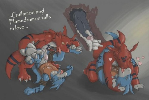 Guilmon n Flamedramon fall in Любовь