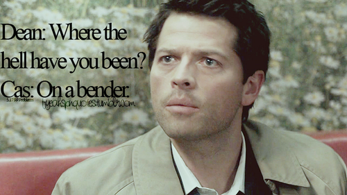 Supernatural Quotes wallpaper probably with a green beret entitled Hilarious Castiel Quotes