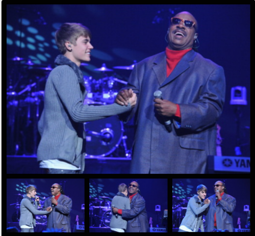 Justin Bieber with Stevie Wonder charity benefit