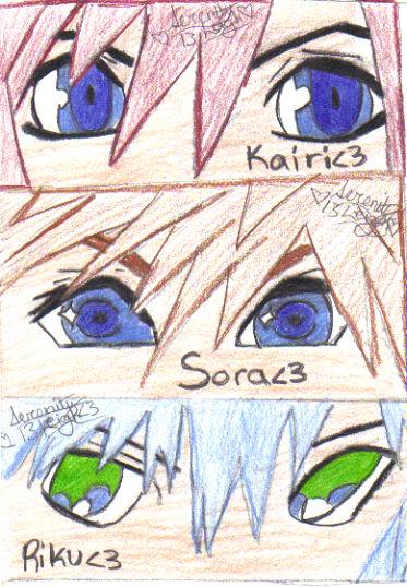 Kairi, Sora, Riku eyes