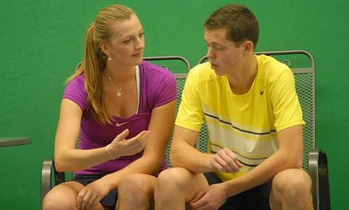 Kvitova and Pavlasek tennis exhibition..