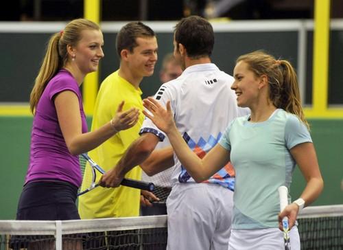 Kvitova and Pavlasek tennis exhibition