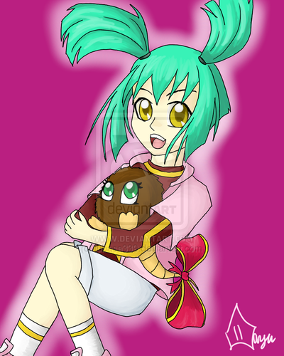 Luna from Yu-Gi-Oh! 5Ds wallpaper with anime called Luna & Kuribon