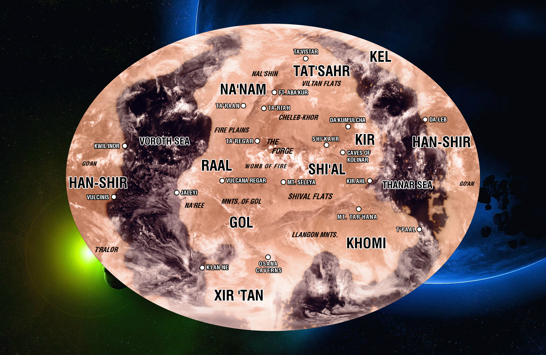 Map of the planet Vulcan. [ «The United Federation of Planets» ]