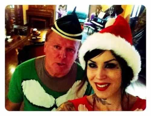 My Dad and I are SO ready for this HighVoltage party at Casa Von D! [December 18th, 2011]