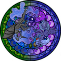 Nightmare Moon & Luna stained glass