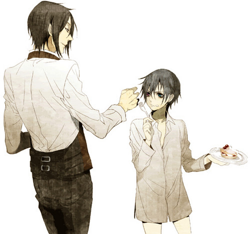 Kuroshitsuji wallpaper with a well dressed person titled No sebastian, thats Ciel's cake XD