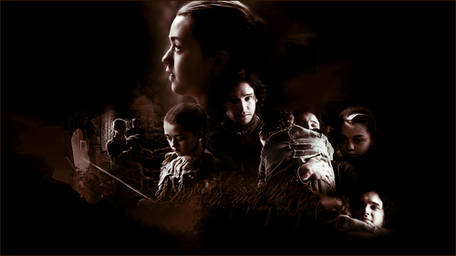 Jon Snow and Arya Stark wallpaper with a show, concerto entitled Stick e'm with the pointy end