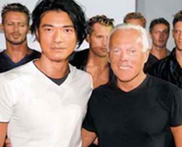 Takeshi Kaneshiro with Giorgio Armani.