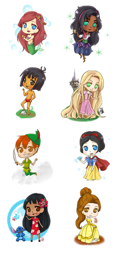 classic disney wallpaper titled chibi disney mashup