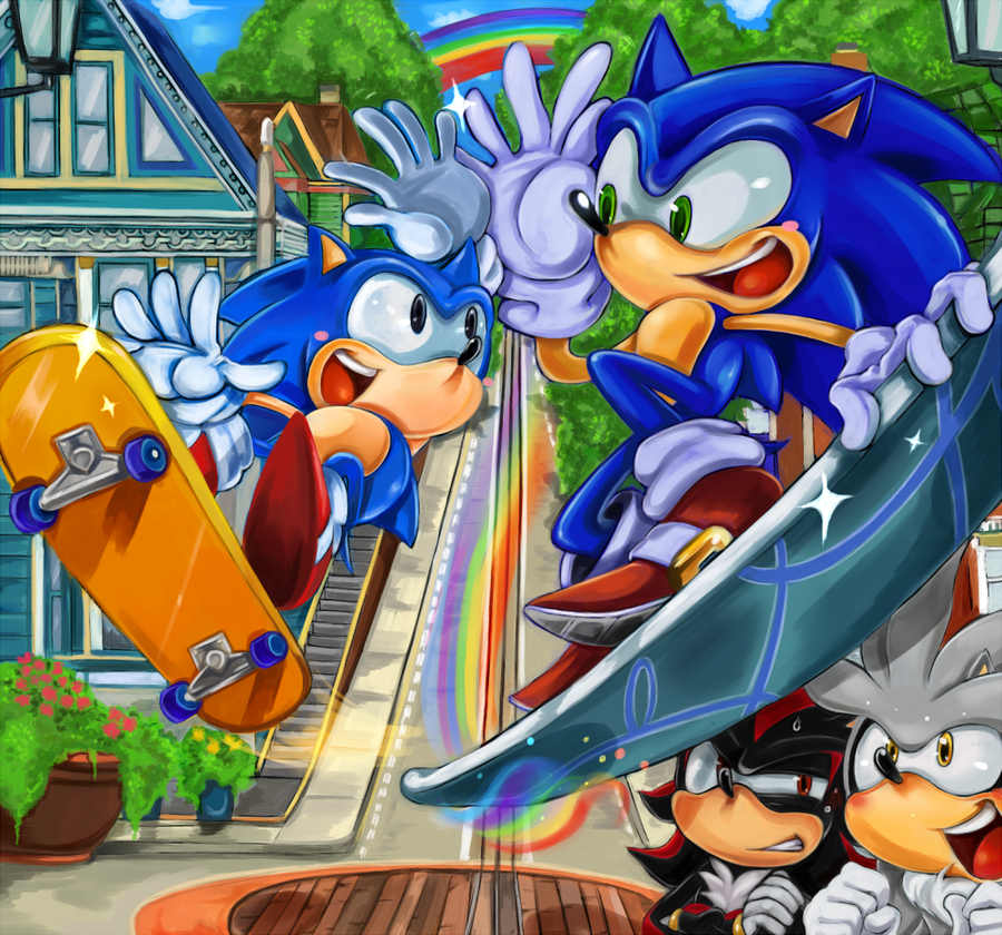 Follow Rainbow Sonic The Hedgehog Fan Art