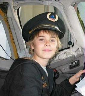 justin in an airplane