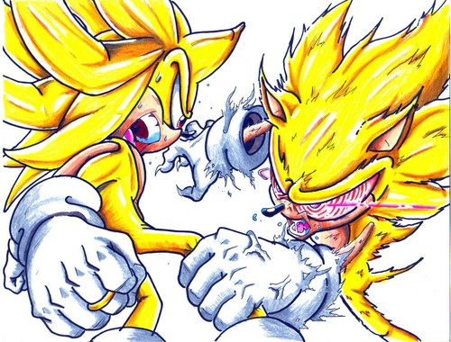 Sonic the Hedgehog wallpaper containing anime called super zero vs evil sonic