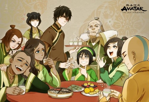 Avatar The Last Airbender kertas dinding probably containing a makan malam, majlis makan malam meja, jadual titled Avatar Group foto