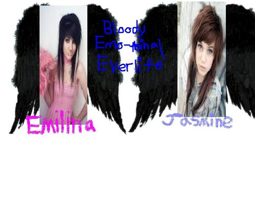 Emo wallpaper called Bloody Emo-tinal Everlife: a new band w/ [me] Emilina, and[bff]Jasmine!!!