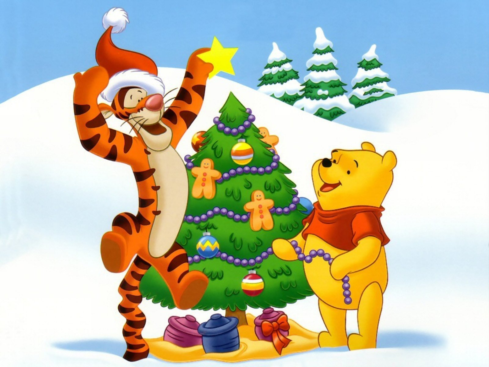 disney christmas images christmas tree for winnie the pooh hd wallpaper and background photos