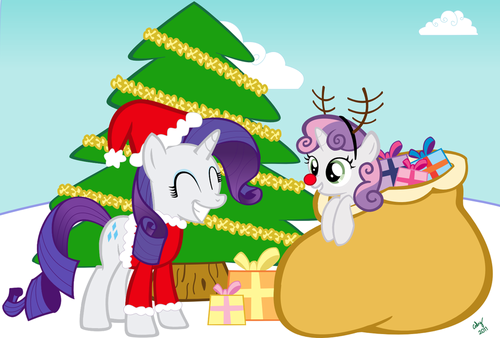 Krismas With Rarity and Sweetie Belle