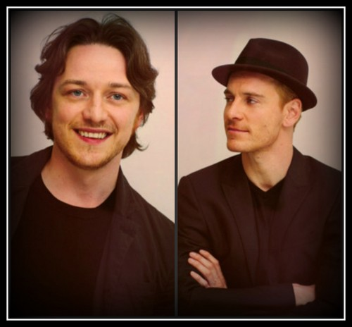 James McAvoy and Michael Fassbender wallpaper possibly with a fedora and a portrait called Fassavoy
