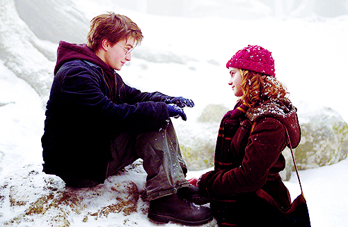 Harry and Hermione achtergrond with a snowbank and an igloo entitled Harry & Hermione