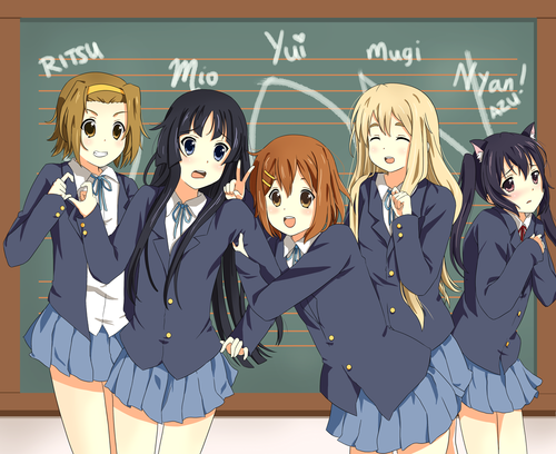 K-ON! wallpaper possibly containing anime titled K-on!! Band xD