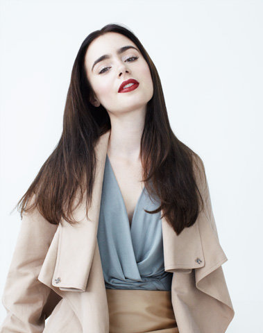 Lily Collins wallpaper containing a trench coat titled Lily Collins W Magazine Photoshoot