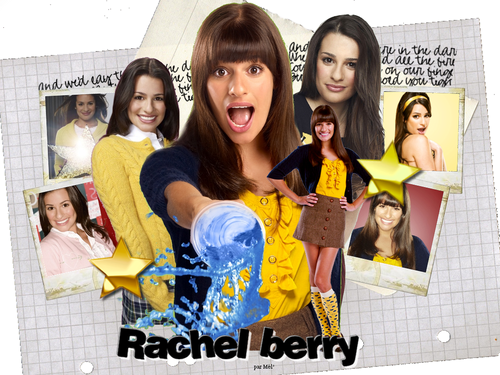 Rachel Berry 바탕화면 possibly with a sign and a portrait titled RachelWallpapers!