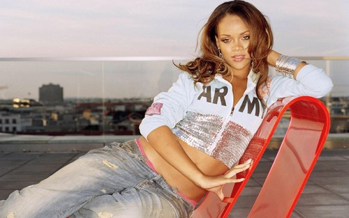 Rihanna wallpaper possibly containing a hip boot, a street, and a sign titled Riri