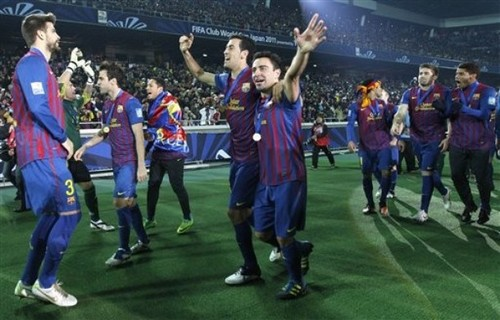 Santos FC (0) v FC Barcelona (4) - FIFA Club World Cup Final: Celebration
