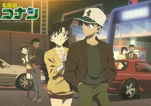 Shinichi Kudo and Ran Mouri wallpaper probably containing a sign and a street called Shinichi and Ran